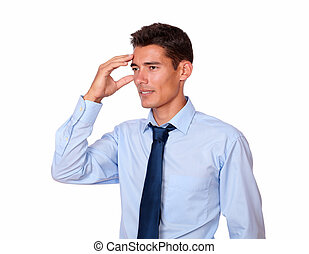Handsome hispanic man with terrible headache