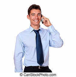 Attractive businessman speaking on his phone