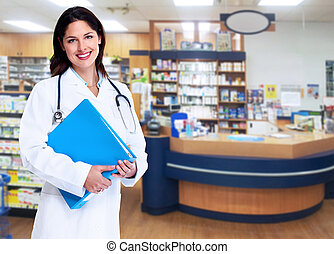 Pharmacist. - Smiling medical doctor woman with stethoscope.