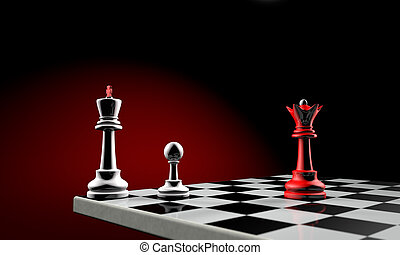 Diplomatic crisis - Three chess pieces (the white king,...