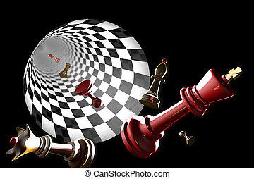 Unemployment - Chess pieces on a black background...