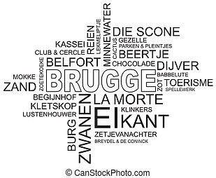 word cloud bruges - word cloud around bruges, city in...