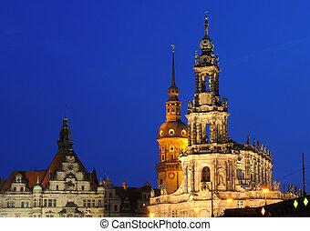 Hofkirche and residenzschloss in dresden, germany -...