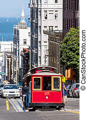 san Francisco city - famous cable car on the street in San...