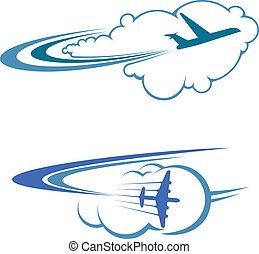 Flying airplanes in sky