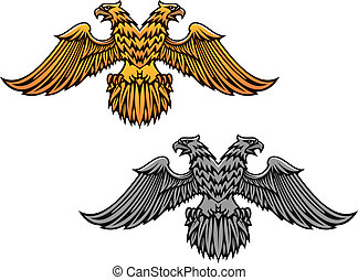 Double eagle mascot for heraldry or tattoo design