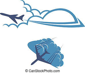 Airplanes in sky for transportation and travel industry...