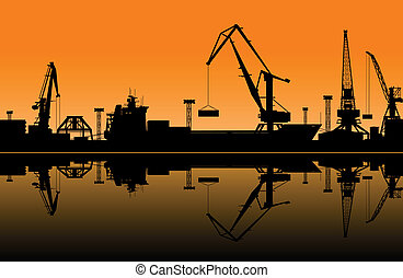 Working cranes in sea port for cargo industry design