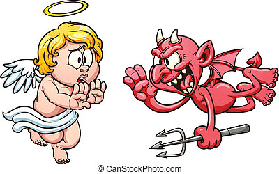 Angel and devil - Cartoon angel and devil. Vector clip art...