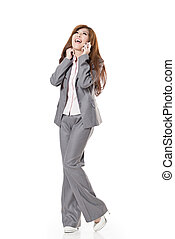 Attractive Asian business woman, full length portrait...