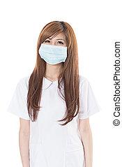 Asian nurse wear mask, closeup portrait on white background.
