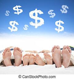 概念, 家族, お金, ベッド, 印, 睡眠