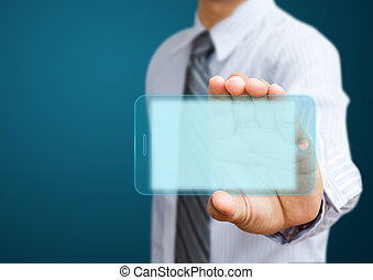 mobile phone with businessmen