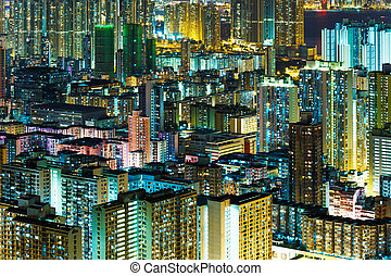 Kowloon downtown at night