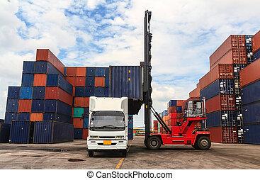 Pila, carga, contenedores, diques, camión