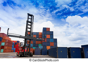 Forklift and container box
