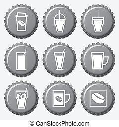 Coffee cup icon on bottle caps set