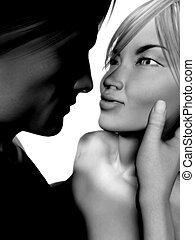Man and woman looking at each other - Black and white...