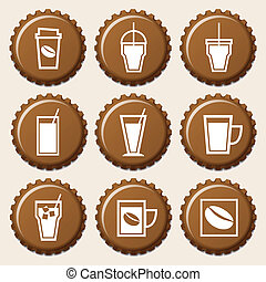 Set of coffee cup icon on bottle caps, stock vector