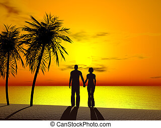 A couple holding hands in sunrise. - Silhouette of a couple...