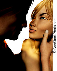 Man and woman looking at each other - A man and a woman...