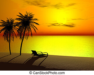 A lounger in sunrise - Silhoutte of two palms and a lounger...