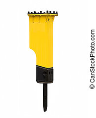 Powerful hydraulic hammer on white background
