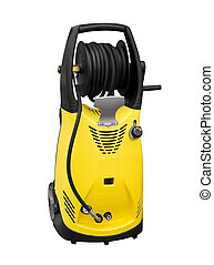 Electric pressure washer on a white background designed to...