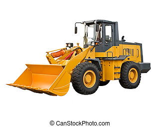Powerful bulldoser on a white background