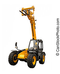 Telescopic handler on a white background
