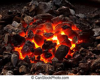 carbón, vivo