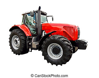 Red farm tractor - Red farm tractor on a white background