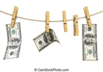clothespin - dollar bill is hanging on a rope with wooden...