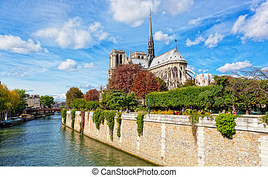 Notre Dame Paris along the Seine river
