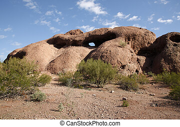 Hole-in-the-Rock, Papago Park, Phoenix, Arizona, USA Eroded...