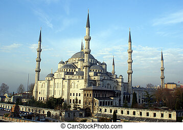 Mosque - Morning and Blue mosque in Sultanahmet, Turkey...