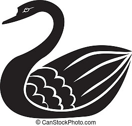 Swan silhouette - Silhouette image of beautiful graceful...