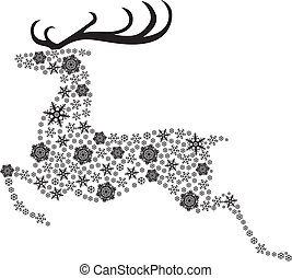 Christmas reindeer silhouette picture consisting of...