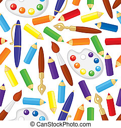 Art supplies pattern seamless - Seamless pattern with...