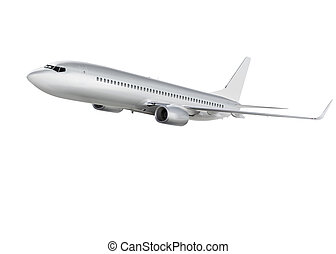 airplane on white background with path - commercial airplane...