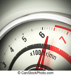 Limit Engine Speed - Rev Counter - Close up of a tachometer...