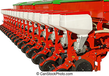 Agricultural equipment for fertilizer earth on a white...