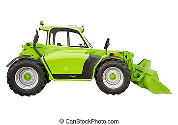 Green telehandler on a white background