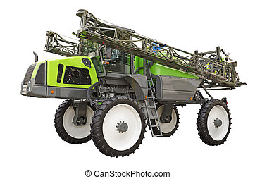 Self propelled sprayer on a white background