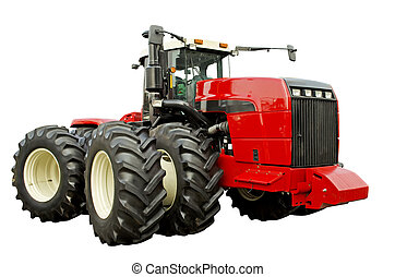 Powerful agricultural tractor on a white background