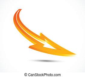 Vector orange arrow. 3d design element