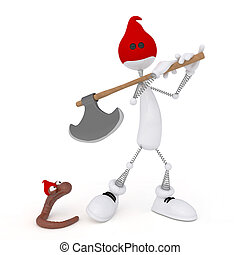 The 3D little man with an axe.