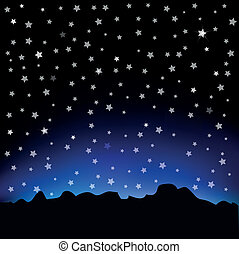 Starry sky and mountain landscape