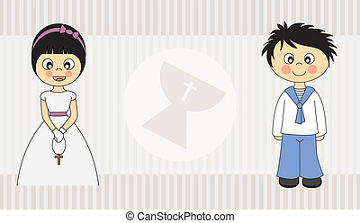 First Communion Invitation Card. Boy and Girl