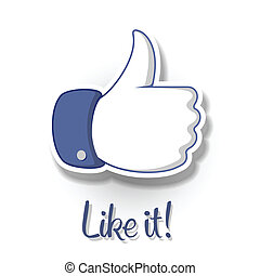 Like/Thumbs Up symbol icon on white background - Thumbs Up...